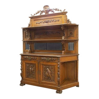 19th Century Antique French Oak Relief Carved Wood Sideboard For Sale