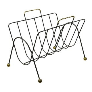 Vintage Mid Century Modern Atomic Era Wrought Iron Hairpin Magazine Rack Stand For Sale