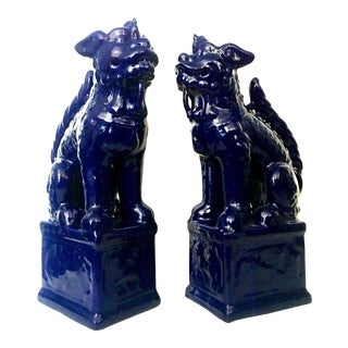 21st Century Chinese Ceramic Glaze Cobalt Foo Dog Figurines - a Pair For Sale