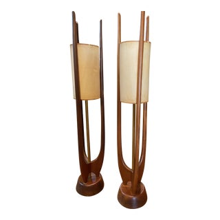 1960s Mid-Century Modern Sculptural Teak Lamps by Modeline - a Pair For Sale
