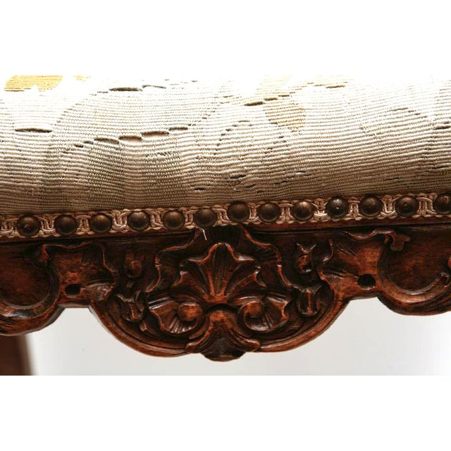 """19th c. French walnut bench with Abusson 20""""L 18""""H"""