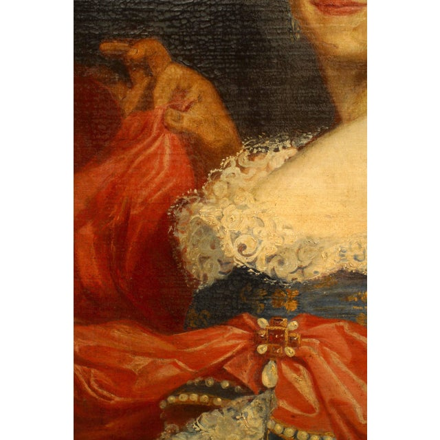American Victorian ebonized framed oil portrait, painting of 19th century lady in blue and red dress.