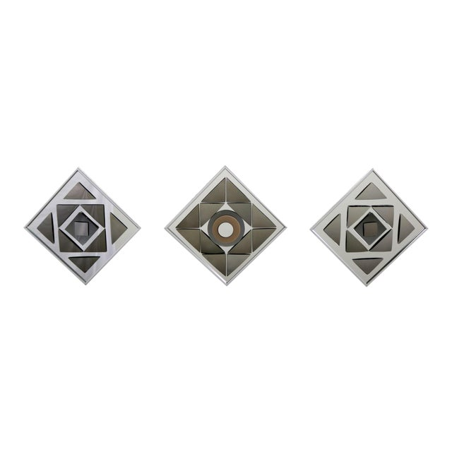 Pop Art Op Art Geometric Trio of Framed Mirror Wall Sculptures by Hal Bienenfeld For Sale