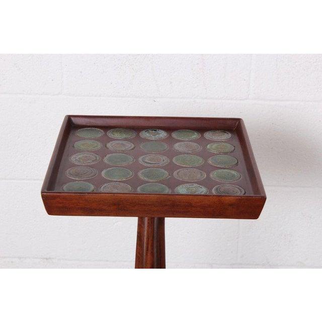 Brass Edward Wormley Dunbar Janus Side Table With Natzler Tiles For Sale - Image 7 of 13