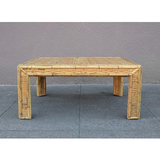 Mid-Century Minimalist Woven Bamboo Rattan Square Coffee Table Preview