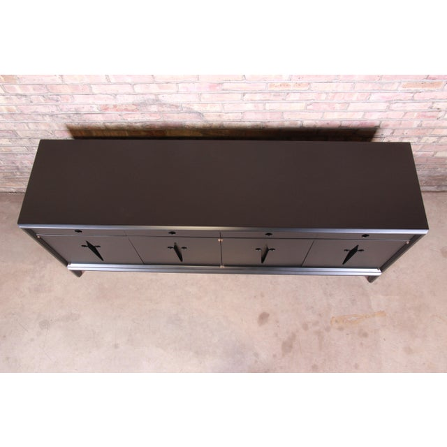 Wood Edmond Spence Swedish Modern Ebonized Sideboard Credenza, Newly Refinished For Sale - Image 7 of 13