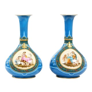 Very Fine and Large Old Paris Porcelain Vases - A Pair For Sale
