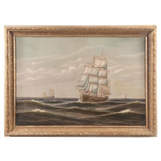 Mid 19th Century Ocean Scene With Clipper Ships Oil Painting For Sale