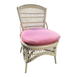 Vintage Wicker Slipper Chair with Rose Cushion For Sale