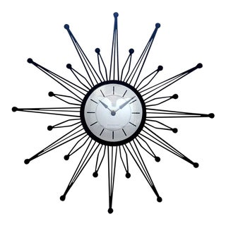 Black Metal Starburst Clock For Sale