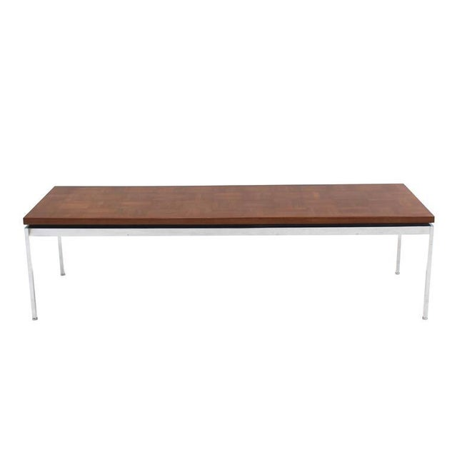 Mid-Century Modern Solid Stainless Steel Heavy Base Rectangular Coffee Table with Parquet Top For Sale - Image 3 of 7