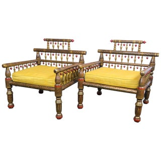 1970s Vintage Anglo-Indian Style Decorative Armchairs- a Pair For Sale