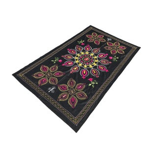 1980s Traditional Floral Medallion Suzani Bedspread With Black Background For Sale