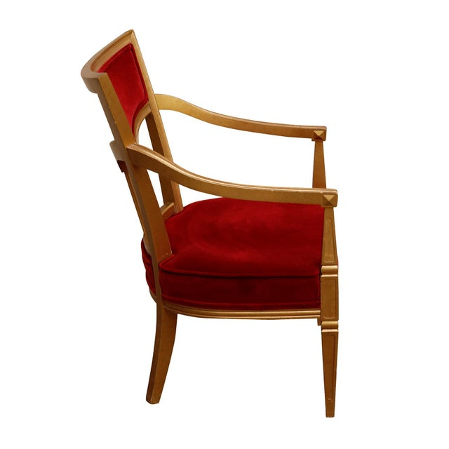 French Country Statesville Chair Company Royal Throne Chair in Red & Gold For Sale - Image 3 of 8