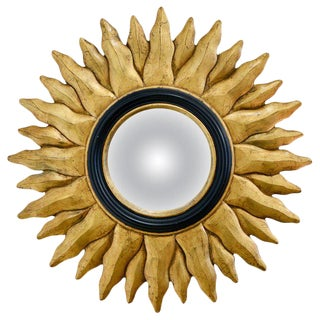 1970s Vintage Giltwood Convex Sunburst Mirror For Sale
