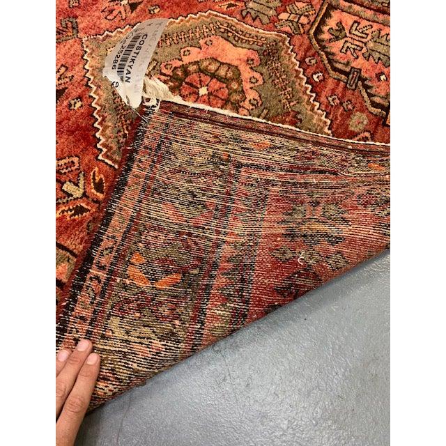 Persian Vintage Hamadan Orange Wool Rug For Sale - Image 3 of 4