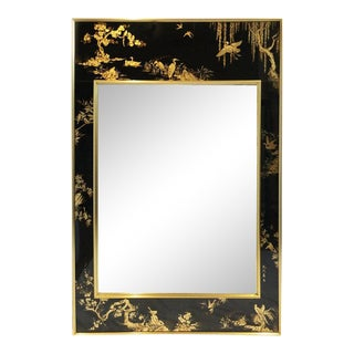 """Late 20th Century """"La Barge"""" Reverse Hand Painted Chinoiserie Mirror For Sale"""