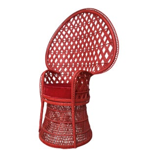 Vintage Sculptural Red Peacock Chair For Sale