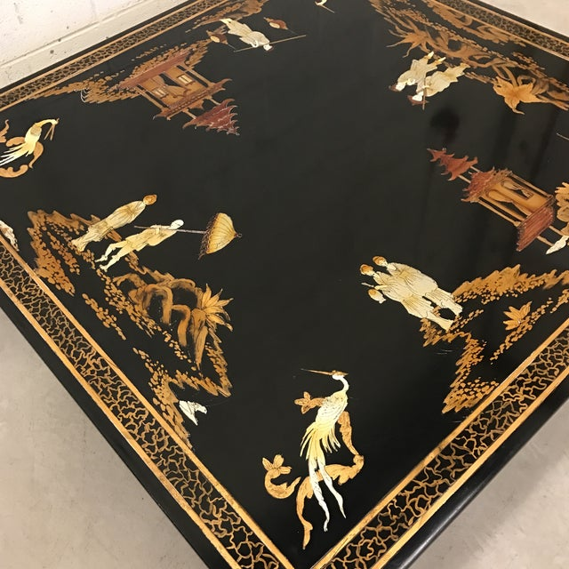 Vintage Asian Style Black Hand-Painted Coffee Table For Sale In Richmond - Image 6 of 12