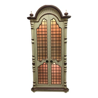 Vintage Hand Painted Illuminated Curio For Sale