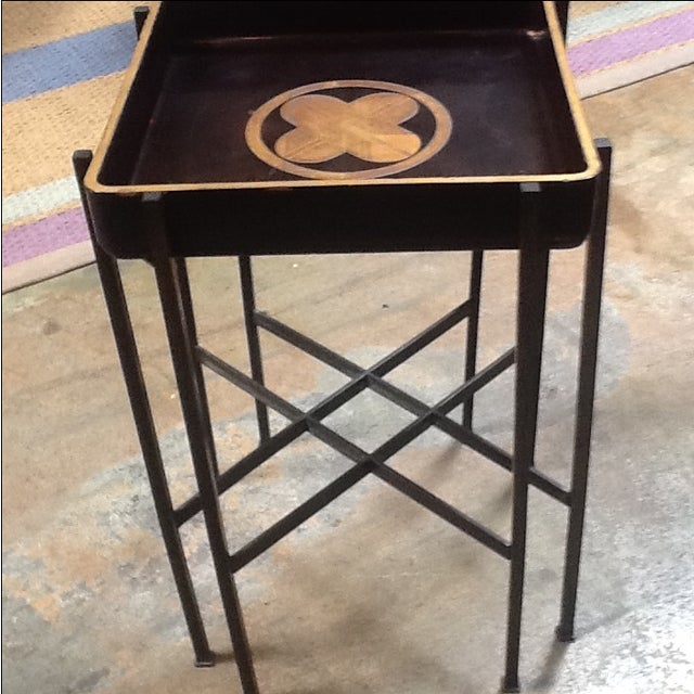 Asian Vintage 1930s Japanese Lacquered Tray W/ Contemporary Metal Stand For Sale - Image 3 of 6