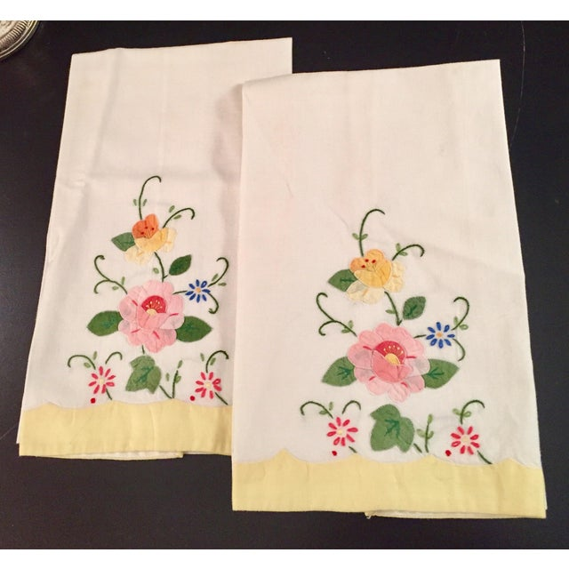 Springtime Floral Embroidered Tea Towels - a Pair - Image 2 of 5