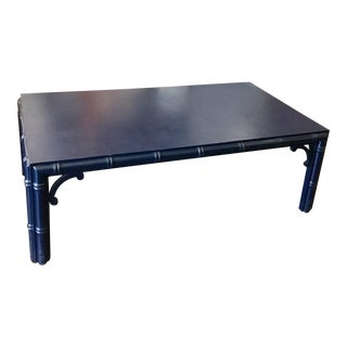 Navy Blue Vintage Coffee Table With Bamboo Wood Styling For Sale