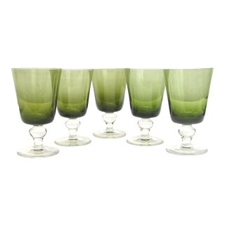 Belgian / French Artisan Glasses, Set of 5 For Sale