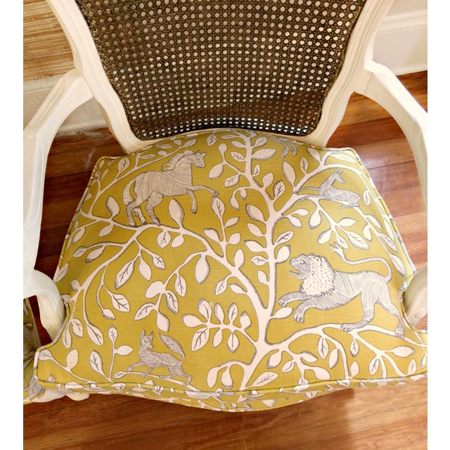 Yellow 20th Century French Country Cane Back Chairs - a Pair For Sale - Image 8 of 11