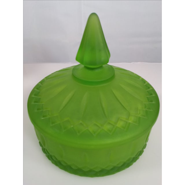 Indiana Glass Green Satin Candy Dish - Image 3 of 10