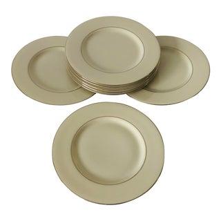Vintage Elegance by West Bend Ivory &Platinum Trim Set of 7 Dinner Plates For Sale