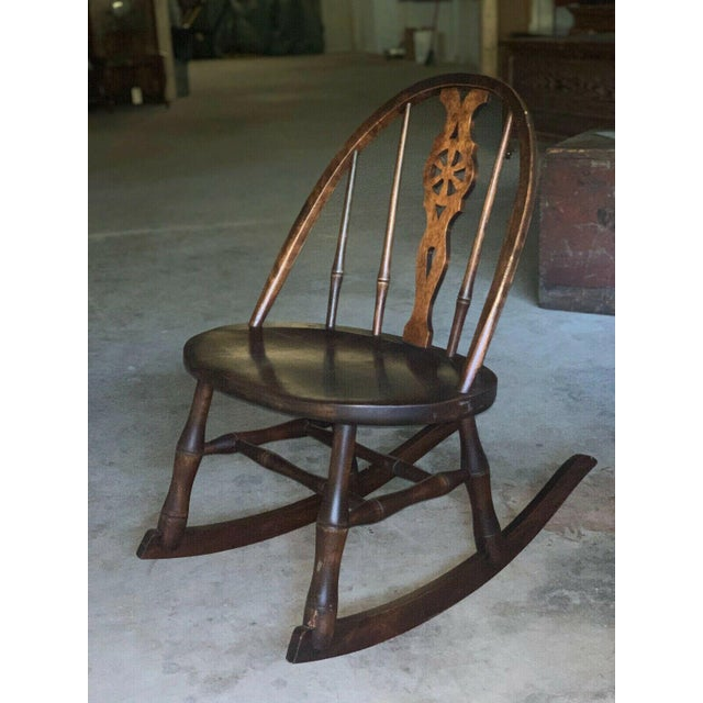 Wood Antique Primitive Windsor Style Child's Rocker Rocking Chair For Sale - Image 7 of 7