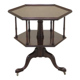 190s Traditional Kittinger Octagonal Revolving Colonial Mahogany Table For Sale