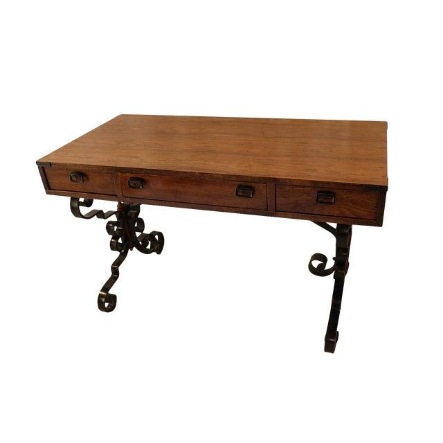 Vintage Fruitwood Iron Desk - Image 1 of 8