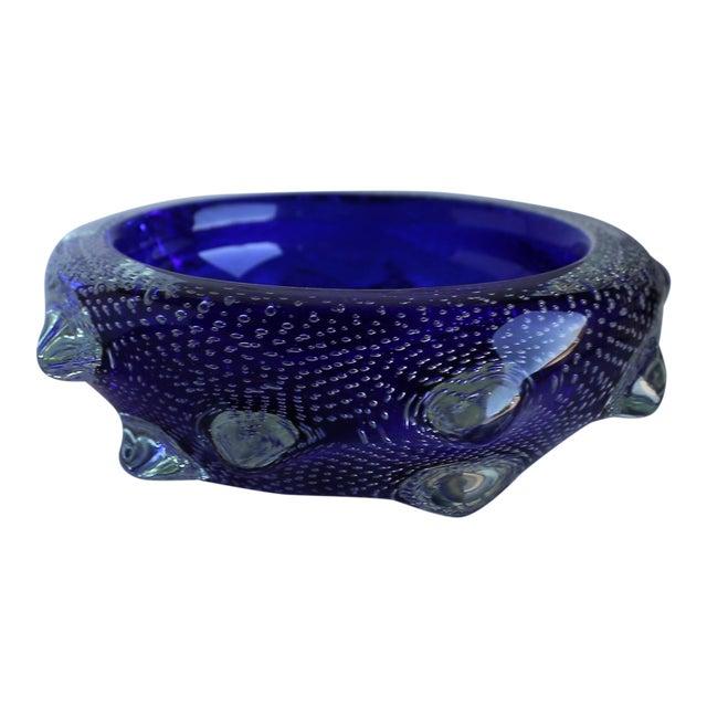1960s Sculptural Blue Murano Art Glass Bowl For Sale
