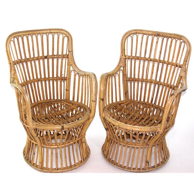 Franco Albini Style Rattan Chairs - A Pair - Image 3 of 11