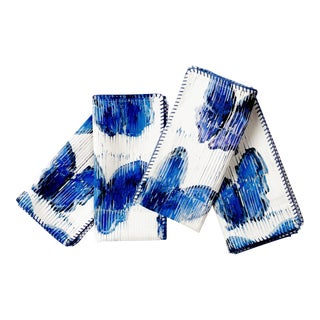 Butterflies in Blue Dinner Napkins - Set of 4 For Sale