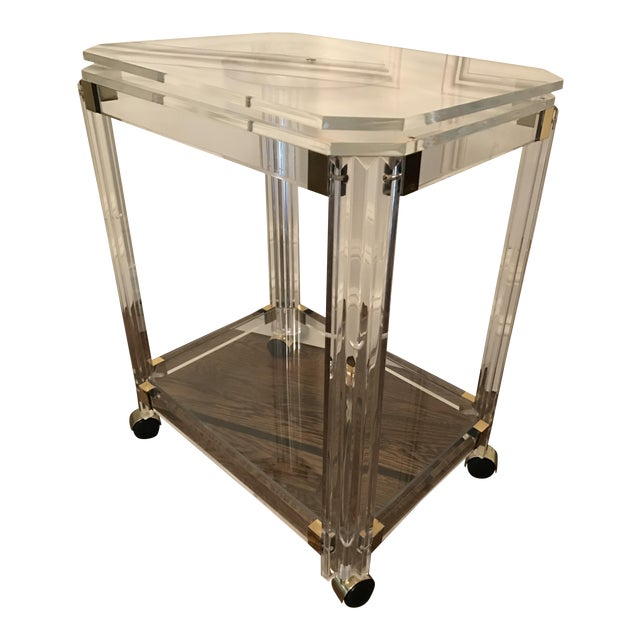 Vintage Lucite and Brass Bar Cart with Swivel Top For Sale