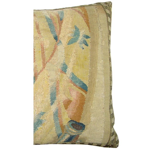 Empire 17th Century Antique Brussels Tapestry Pillow For Sale - Image 3 of 6
