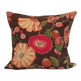 P Kaufman Linen and Cotton Blend Woven Fabric Floral Pillow For Sale