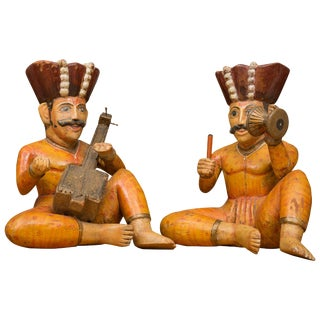 Raj Figures Playing Musical Instruments - a Pair For Sale
