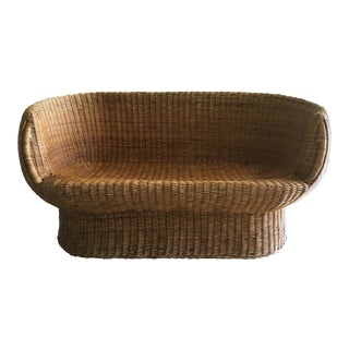 Vintage Wicker Barrel Back Settee For Sale