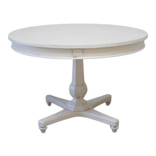 Vintage White Painted Round Dining or Entry Table For Sale