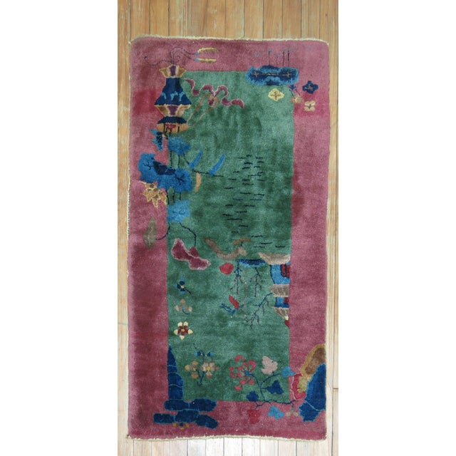 Blue Chinese Art Deco Rug, 2'1'' x 3'10'' For Sale - Image 8 of 8