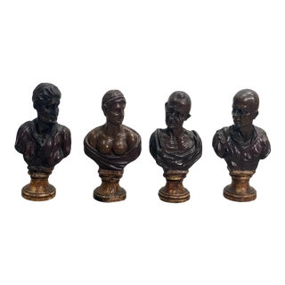 1700s Baroque Carved Wood Busts - Set of 4 For Sale