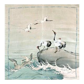 Japanese Antique Fusuka Textile Art Meiji Period For Sale