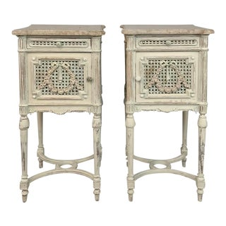 Pair 19th Century French Louis XVI Painted Marble Top Nightstands For Sale