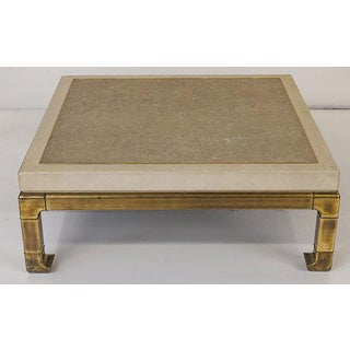 Mastercraft Coffee Table With Faux Snake Skin Embossed Leather and Hefty Brass Legs Preview