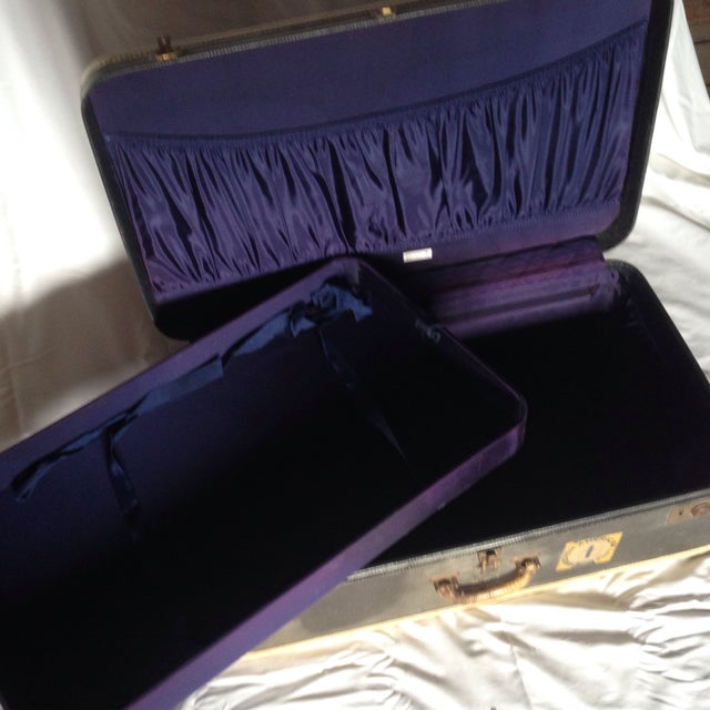 Large Vintage Dark Blue Suitcase For Sale - Image 9 of 9