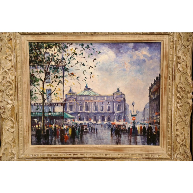 Pair of Mid-20th Century French Paris Paintings in Carved Frames Signed L. Dali For Sale - Image 4 of 12